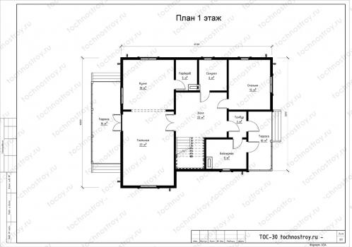Каркасный дом - проект ТОС-30