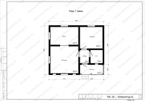 Каркасный дом - проект ТОС-33