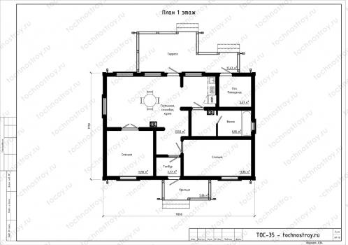 Каркасный дом - проект ТОС-35