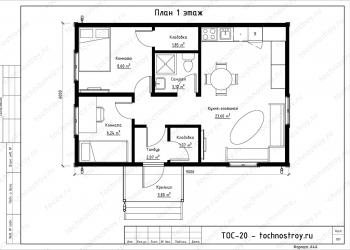 Каркасный дом - проект ТОС-20
